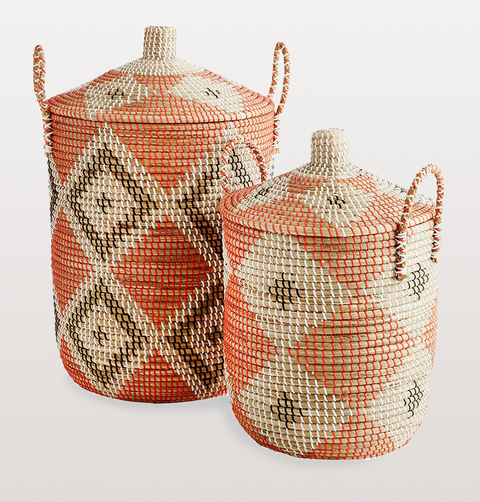 LARGE ORANGE AND BLACK SEAGRASS LAUNDRY BASKET WITH LID