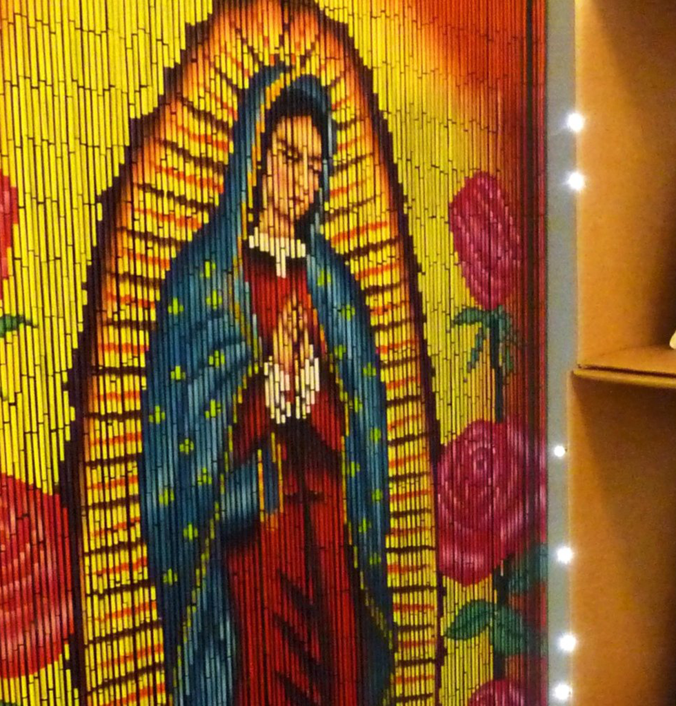 Kitsch Kitchen our lady of Guadalupe door curtain from wagreen.co.uk