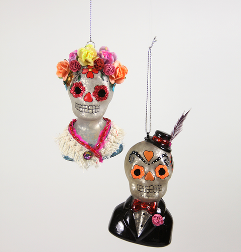 DIA DE LOS MUERTOS BLACK & SILVER GLASS DECORATION MAN