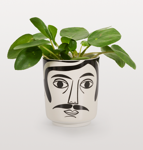 MR HAMILTON BLACK WHITE FACE POT