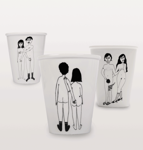 Helen B Naked Cup set of 3. Naked couple front and back and Adam and Eva cup