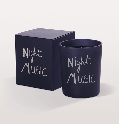 Bella Freud night music navy and silver scented candle in box