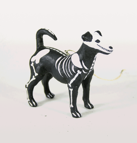 DAY OF THE DEAD MEXICAN BLACK BONE SKELETON DOG CHRISTMAS DECORATION
