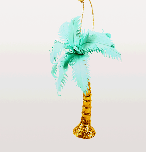 Tropical Christmas palm tree decoration in gold