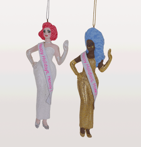 RuPaul and Miss Fame Drag Queen Christmas Decorations