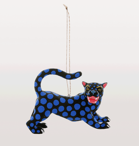Black panther with blue polka dot spots Christmas decoration
