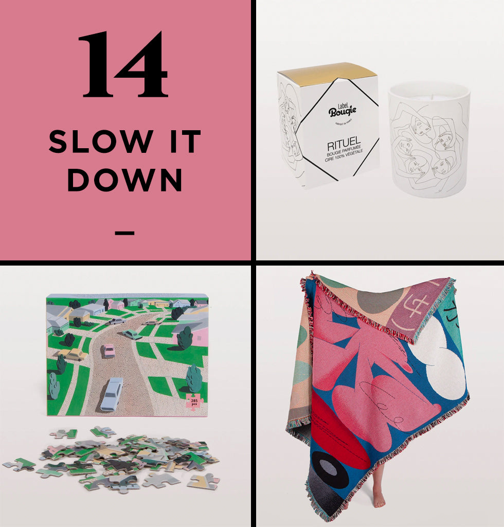 HOME PERK UP PACK 14 | SLOW IT DOWN | It can get chilly working from home right? We've taken to putting one of the Slowdown Studio throws over our knees while we work and then wrap it over our shoulders for the long commute to the sofa. This is where the Label Bougie candle adds to those cosy evenings snuggled up to do the Slowdown Studio jigsaw