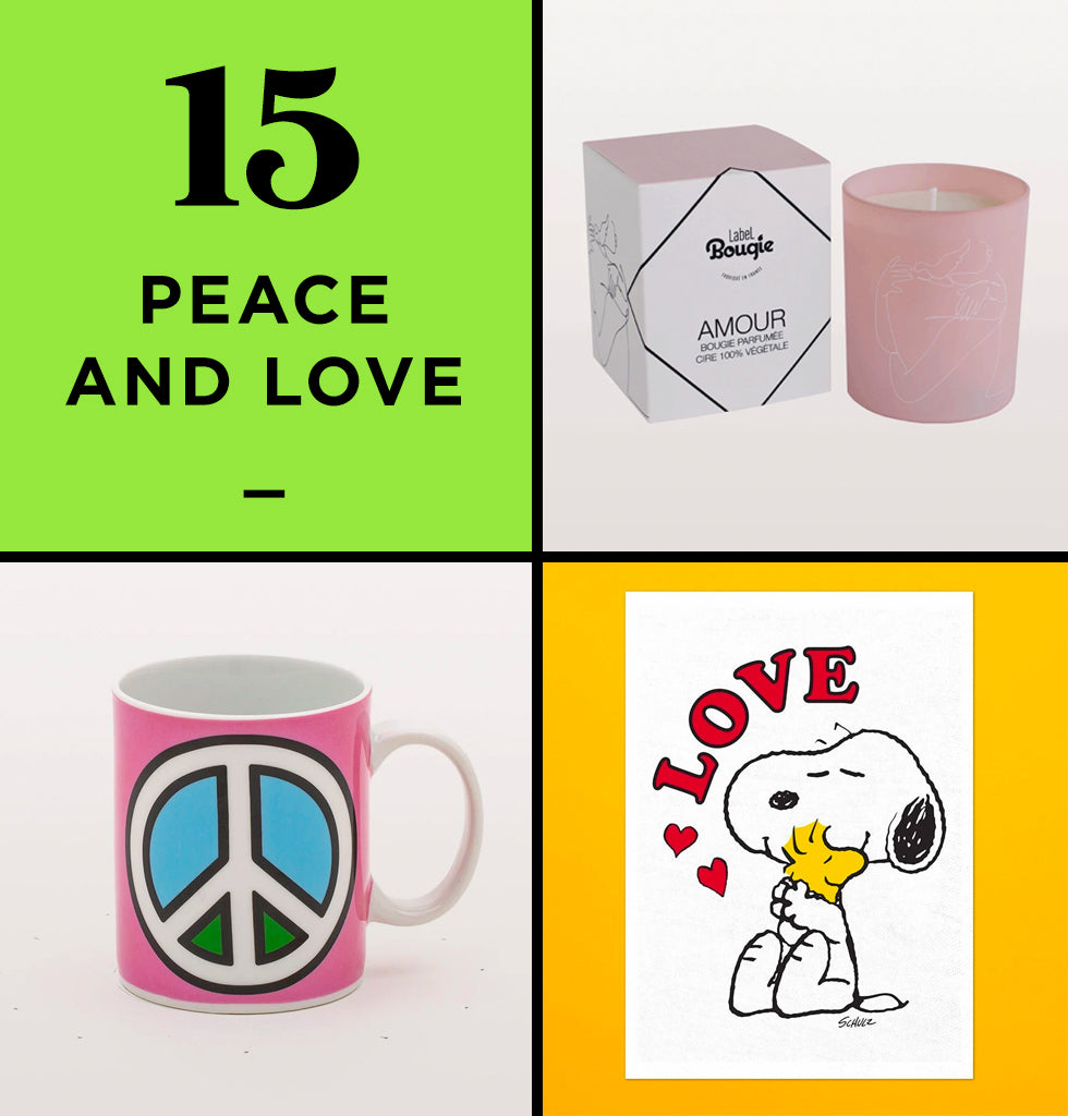 HOME PERK UP PACK 15 | PEACE AND LOVE | The Snoopy tea towel will add a splash of love into your kitchen, whilst the Studio Blow Peace mug will make your morning breakfast affirmation have all the more meaning. And set hearts racing with the Amour scented candle, which is fresh and sensual