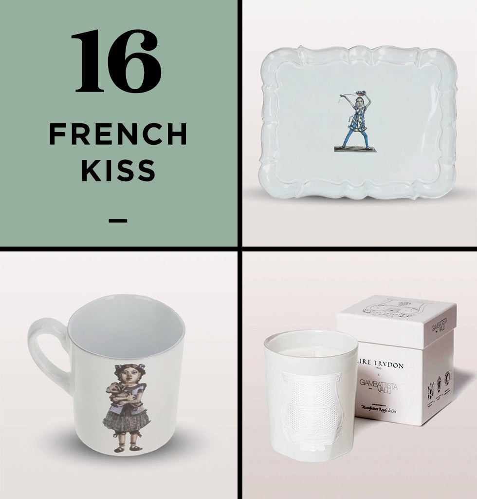 HOME PERK UP PACK 16 | FRENCH KISS | Bring the elegance of France and Italy into your home with this French Kiss perk up pack. The Carron plate and mug effortlessly bring style and grace. Coupled with the Postiano candle, they combine in a beautiful melody as Cire Trudon brings the scents of picturesque Postiano