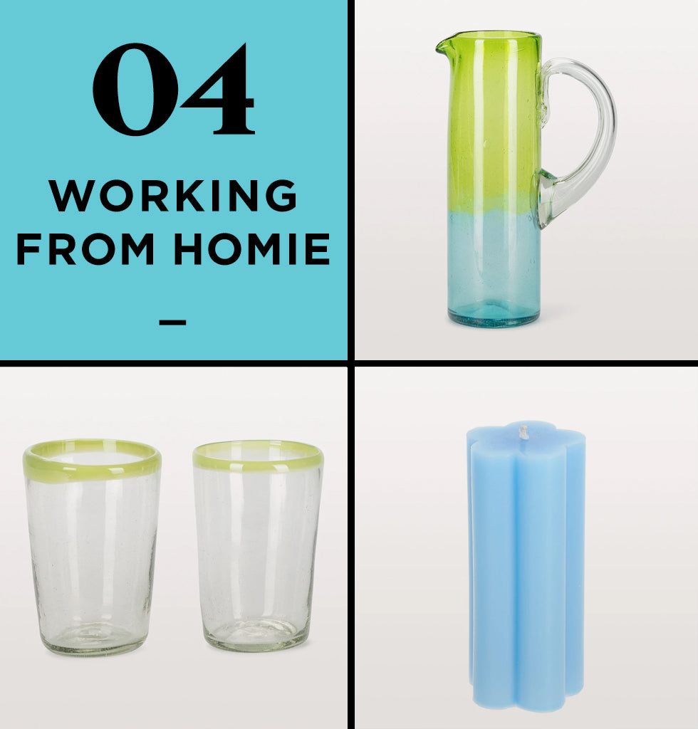 HOME PERK UP PACK 4 | WORKING FROM HOMIE | The unique Milagros jug is beautiful with it shades of green and blue and matched with the green tumblers, you'll be in Mexican heaven in your office! The blue daisy pillar candles adds that pop of colour you never knew you needed at your desk