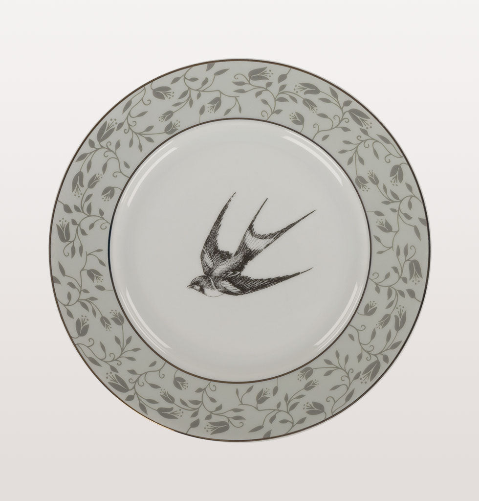 Kitsch Kitchen vintage plates with swallow bird design. Unique wall or display side plates