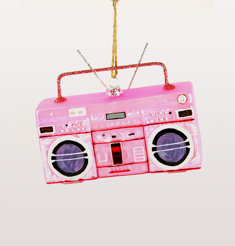 PINK BOOMBOX KITSCH GLASS CHRISTMAS DECORATION