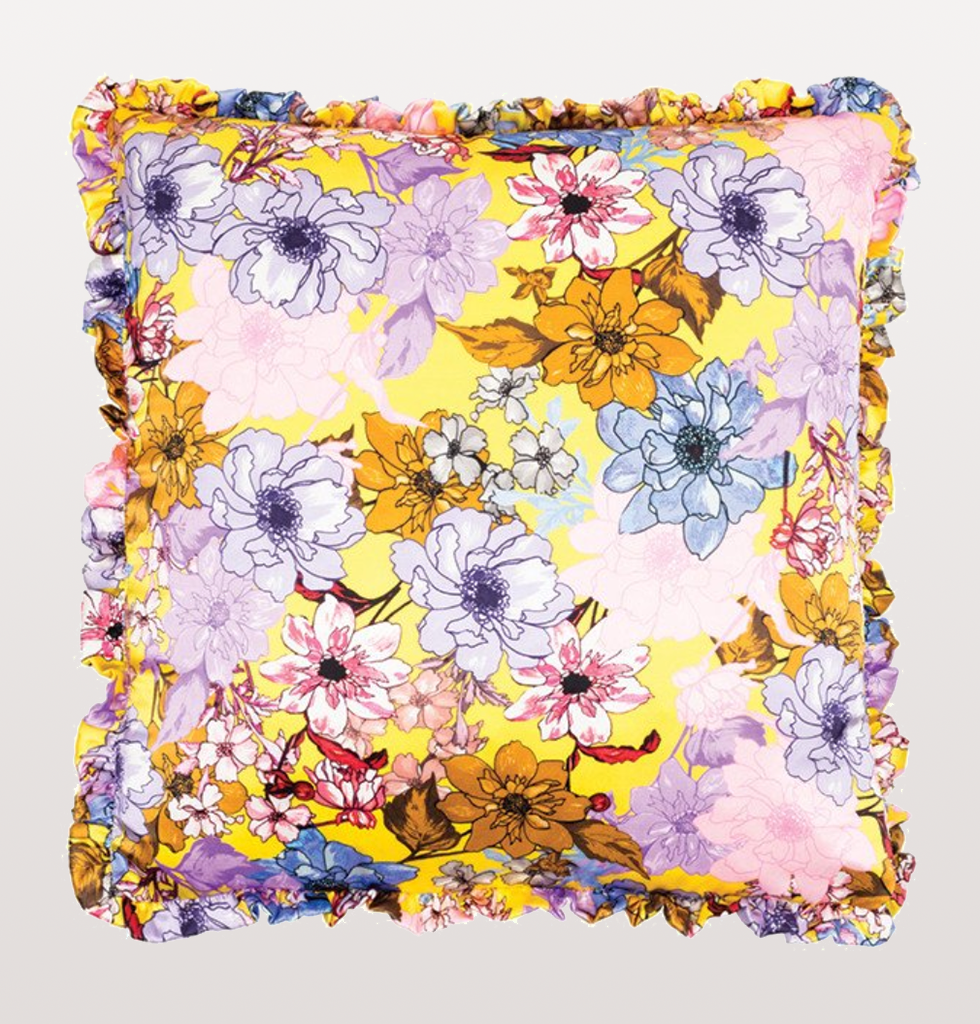 PURPLE FLOWER BOMB BLACK ROSE CUSHION