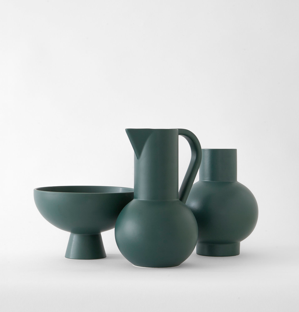 Strom collection by Raawii featuring dark green ceramic bowl, vase and jug. wagreen.co.uk