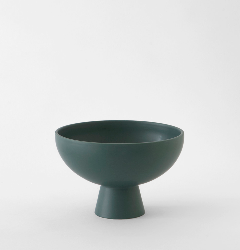 Large dark green contemporary fruit bowl by Raawii ceramic. £83 wagreen.co.uk