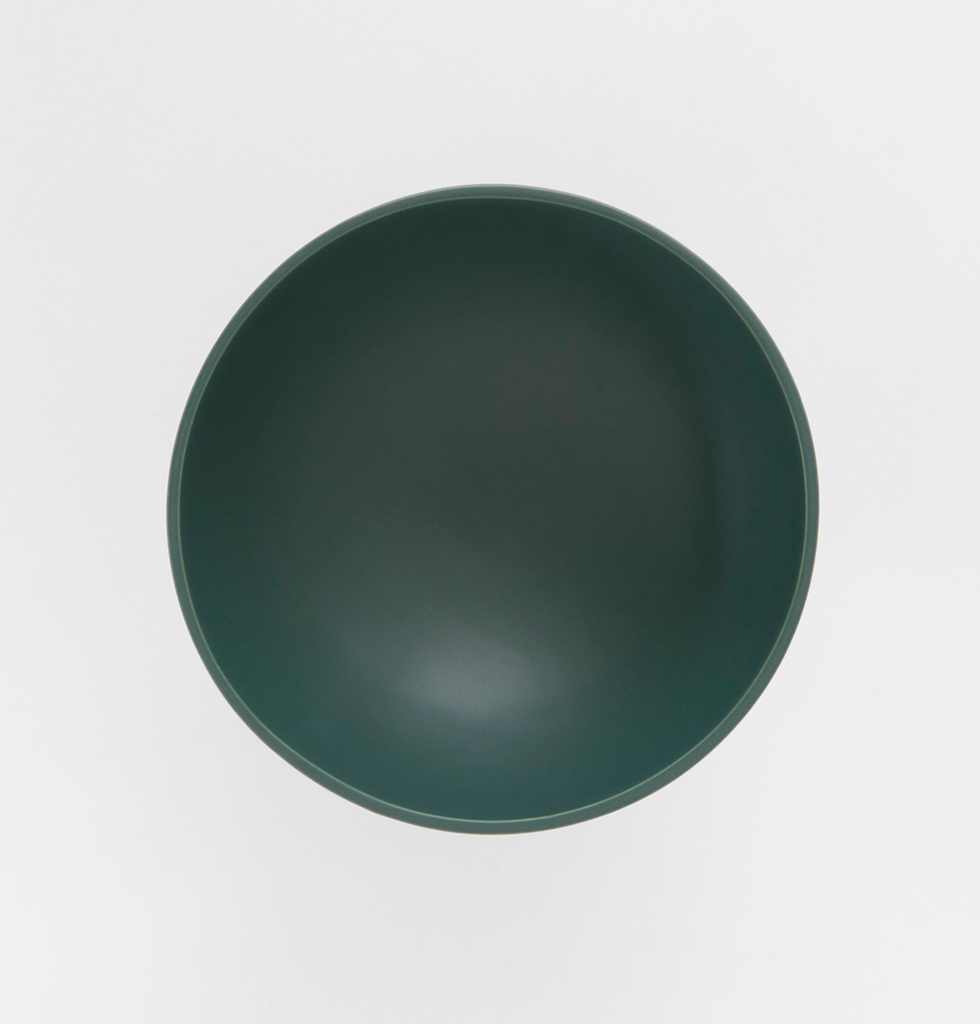 Top view of large green ceramic contemporary fruit bowl by Raawii