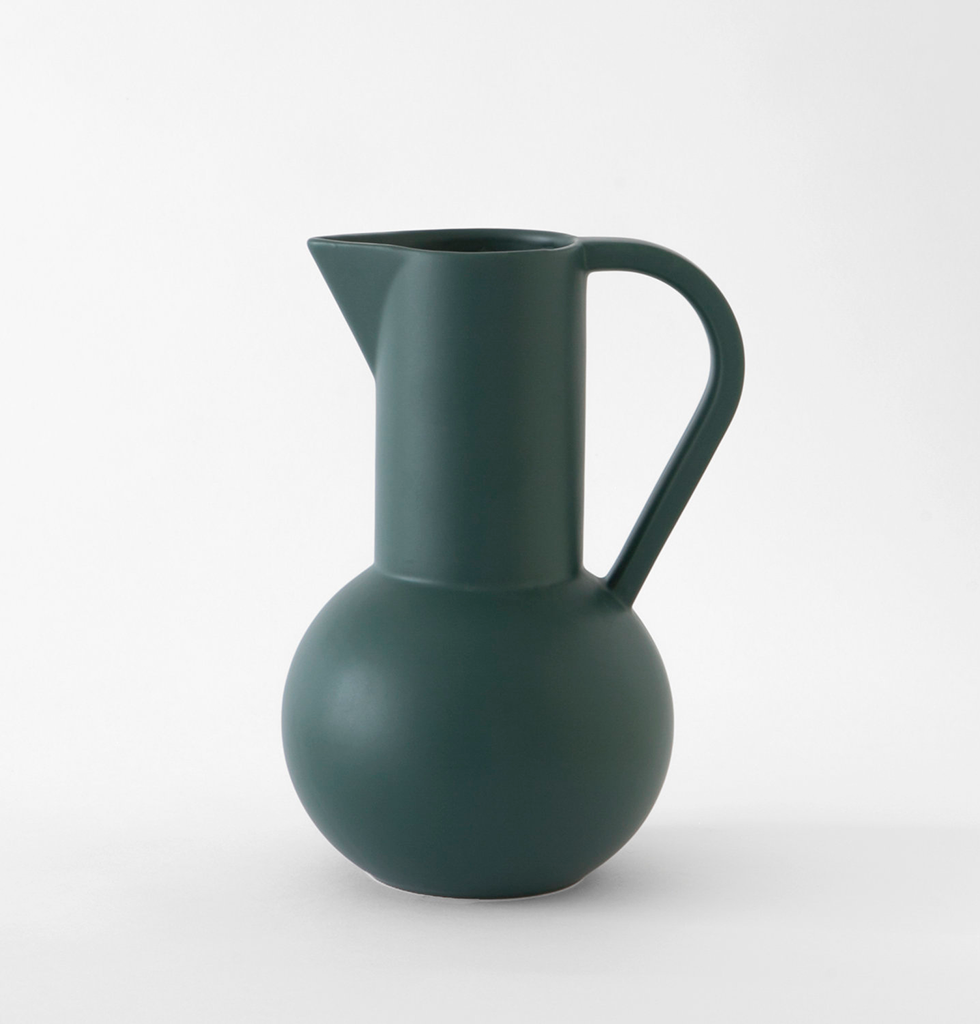 Large dark green ceramic Strom jug by Raawii