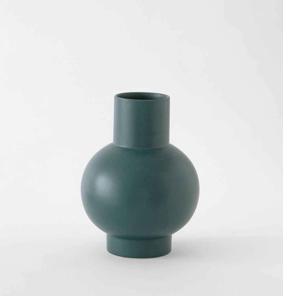 Large dark green contemporary ceramic flower vase by Raawii