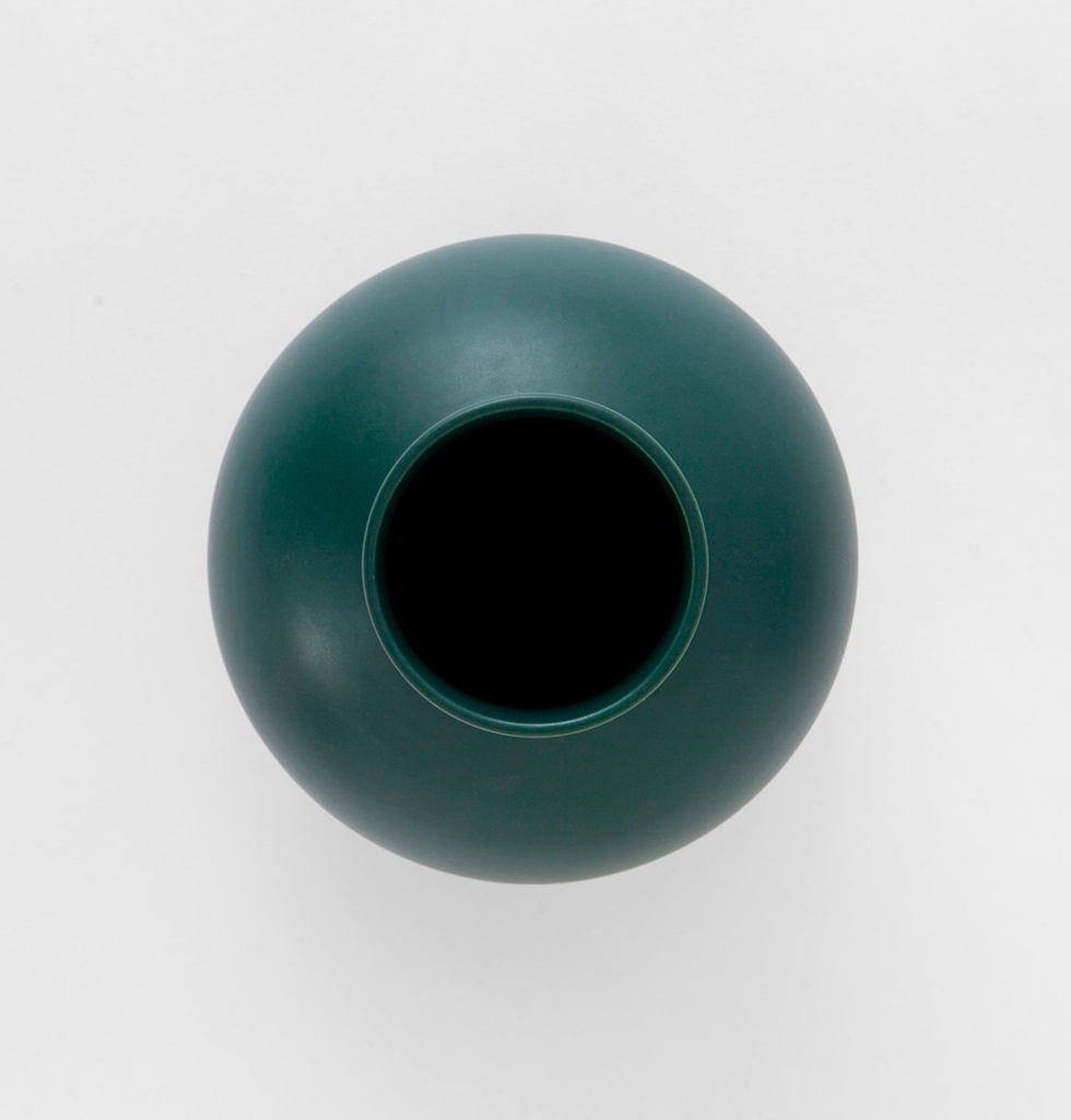 Top view of large dark green ceramic flower vase by Raawii