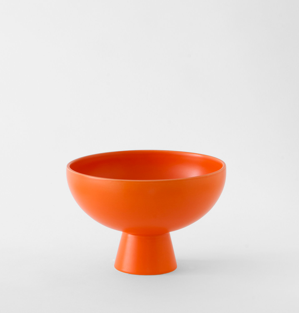 Large bright orange contemporary ceramic fruit bowl
