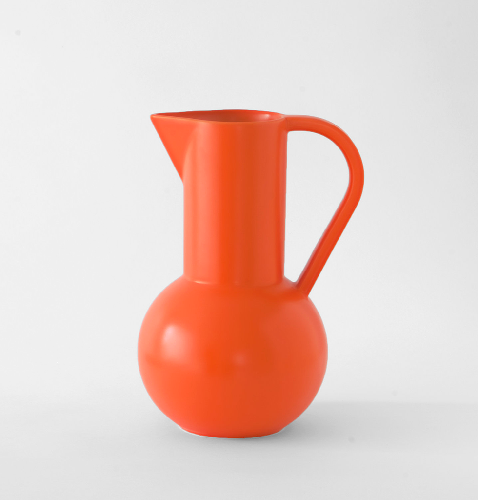 Bright orange ceramic large jug by Raawii Strom