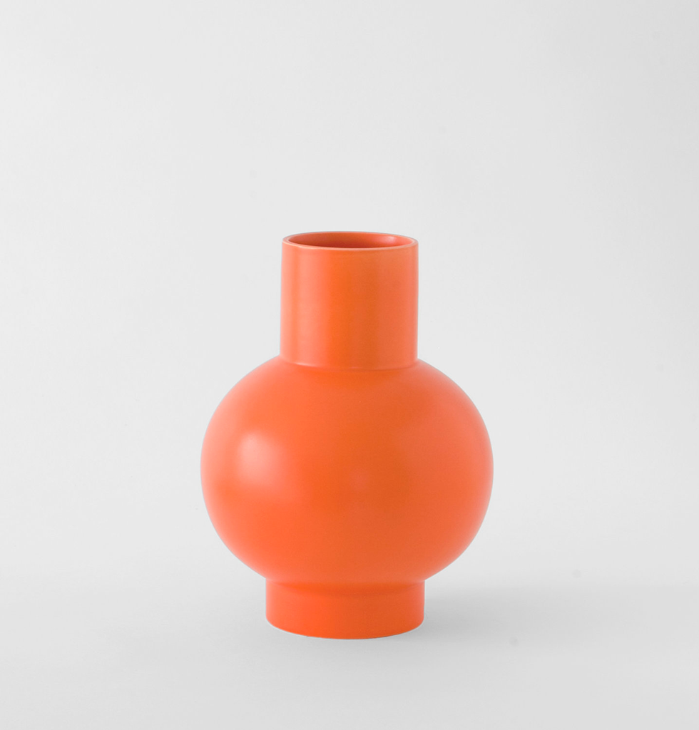 Large vibrant orange contemporary ceramic flower vase Raawii. £85 wagreen.co.uk