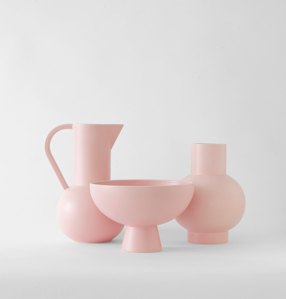 Large pink ceramic flower vase with jug and bowl by Raawii