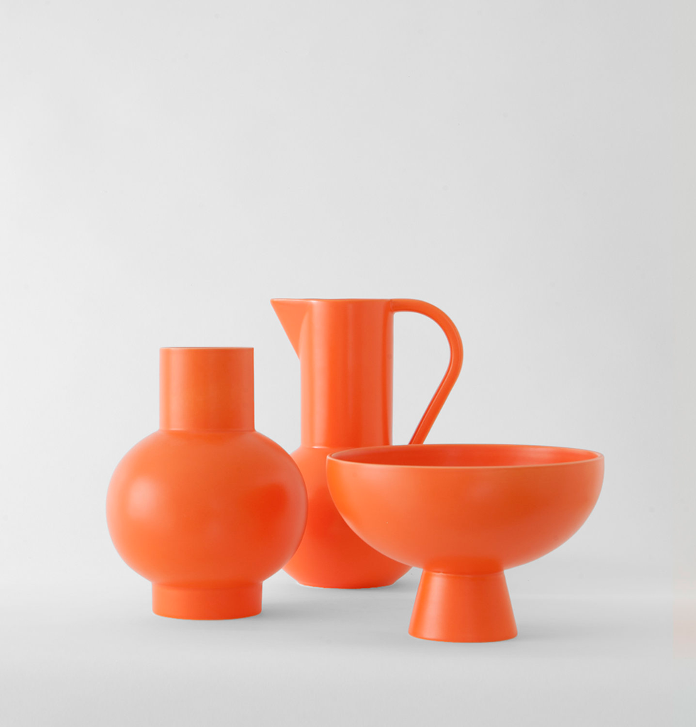Bright orange ceramics by Raawii vase, jug and bowl. wagreen.co.uk