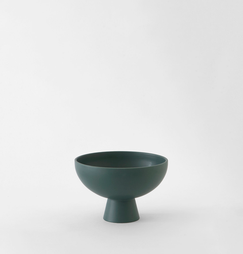 Small dark green ceramic contemporary fruit bowl by Raawii