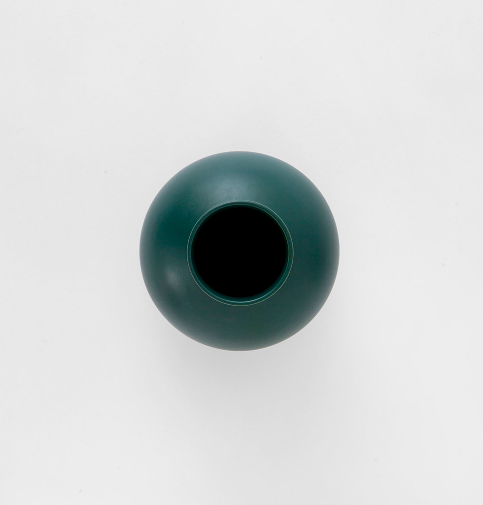 Top view of small dark green ceramic flower vase by Raawii