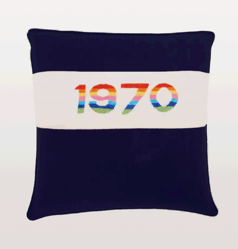 Bella Freud 1970 rainbow navy cushion