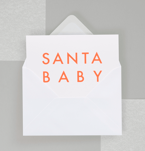 Santa Baby neon orange Christmas Card