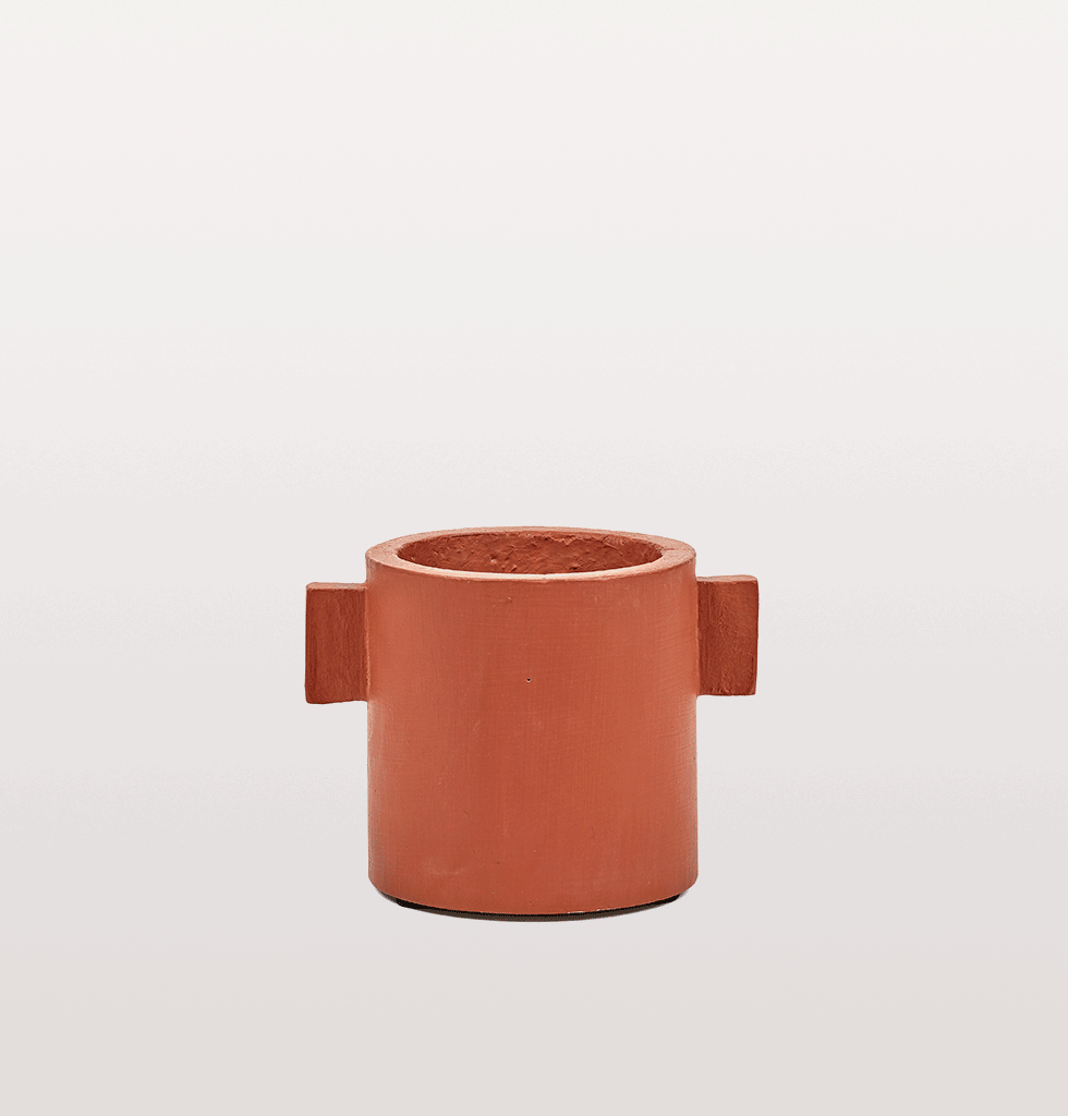 Red brown concrete indoor planter by Serax small