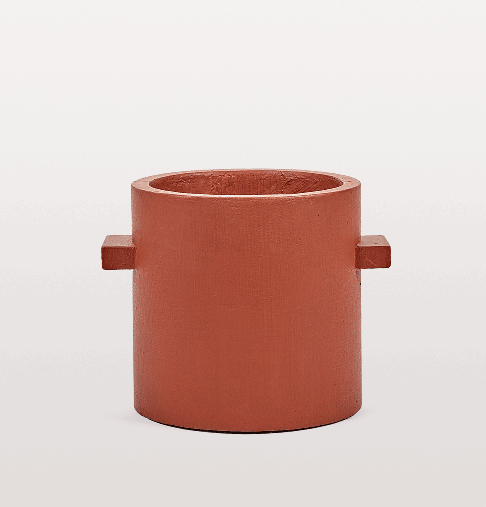 Red brown concrete indoor planter by Serax medium