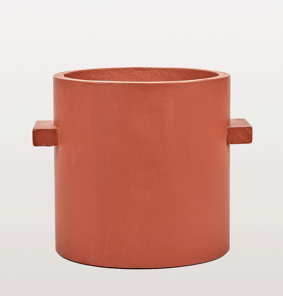 Red brown concrete indoor planter by Serax large