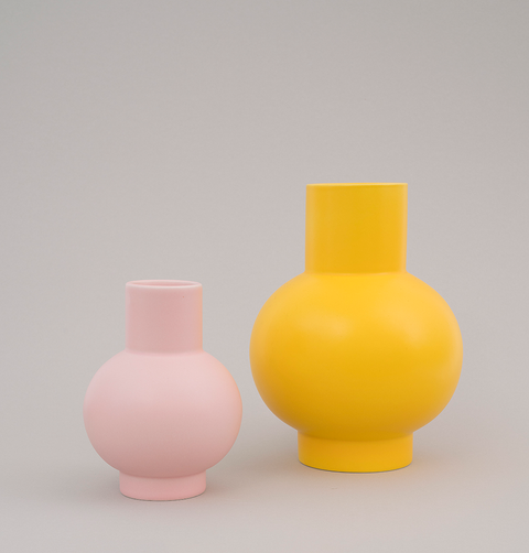 Large yellow ceramic vase