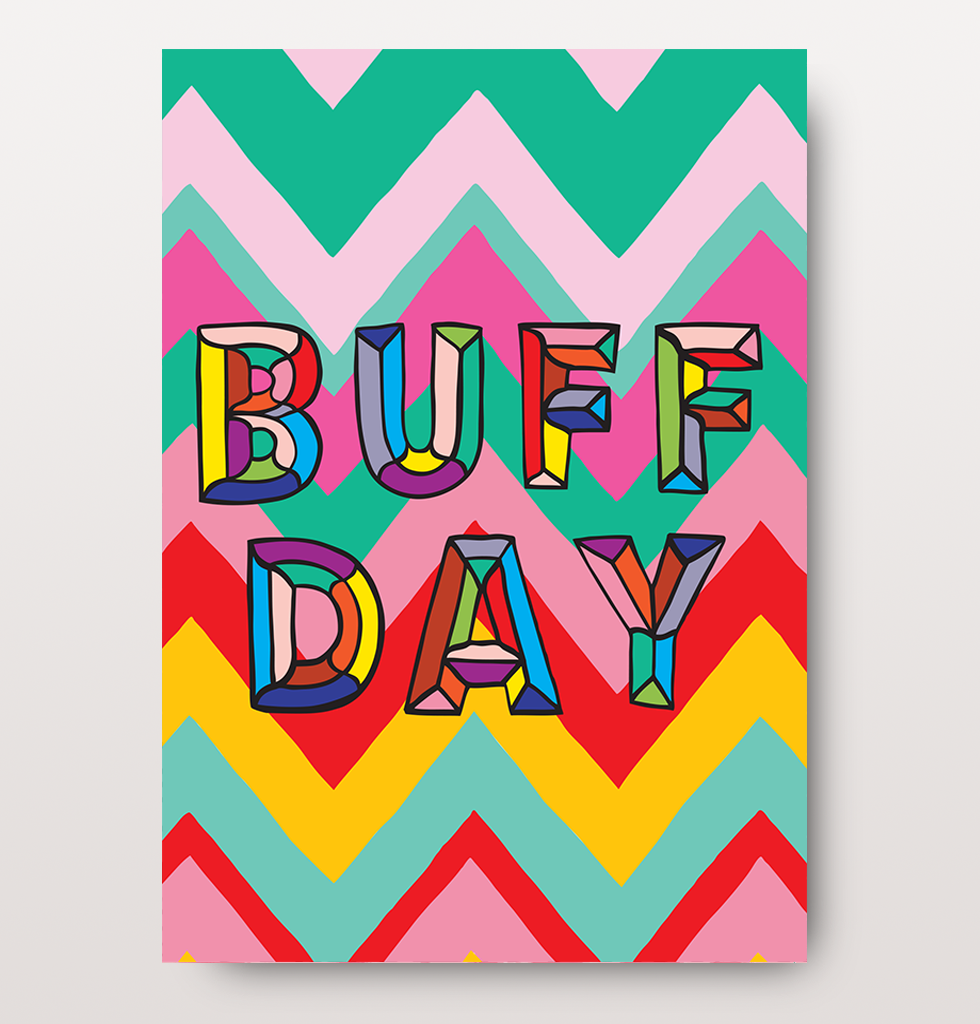 Original funny birthday card buff day