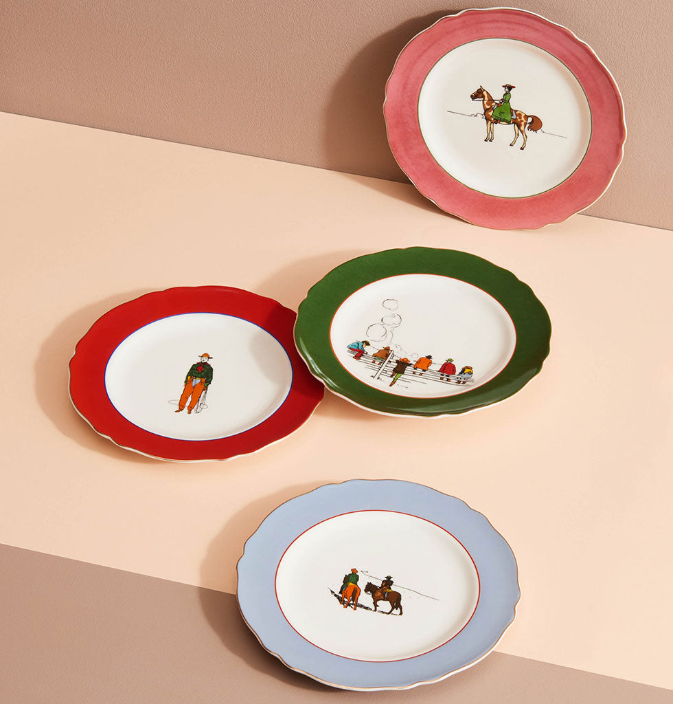Yeehaw Cowboy, it's dinner time! This western inspired tableware set is set to make your mark in the hot desert sand.  This four piece side plate set features four different illustrated pioneering designs with pretty coloured borders for a nostalgic Americana theme. Use as side plates or hang on the wall.