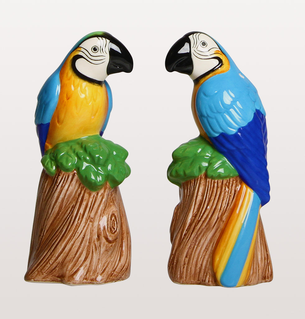 Tropical parrot bird salt and pepper shaker set for table by &K at W.A.Green