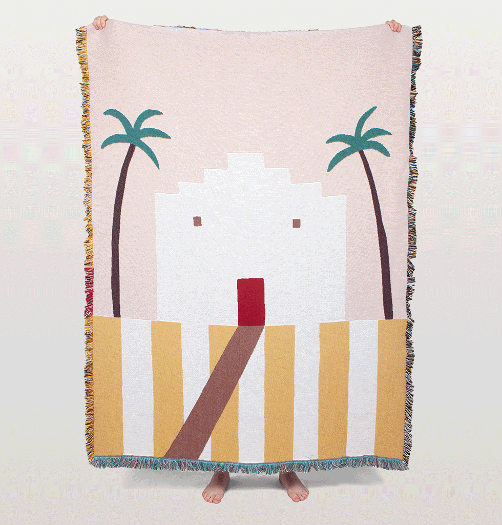 Sandoval throw by Slowdown Studio pink and yellow art blanket