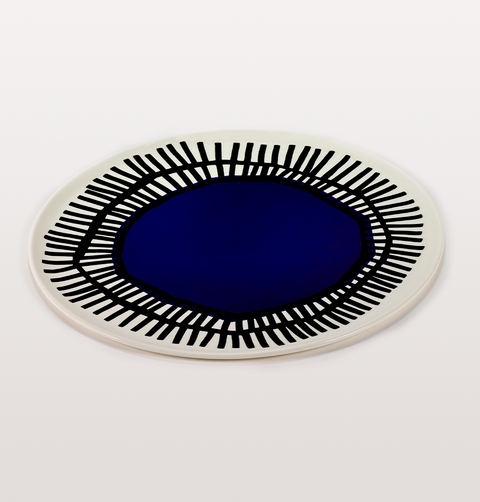 Nomad blue and black dinner plate by Serax