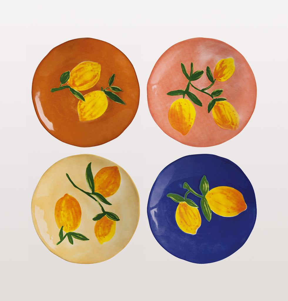 SET OF 4 LEMON SIDE PLATES