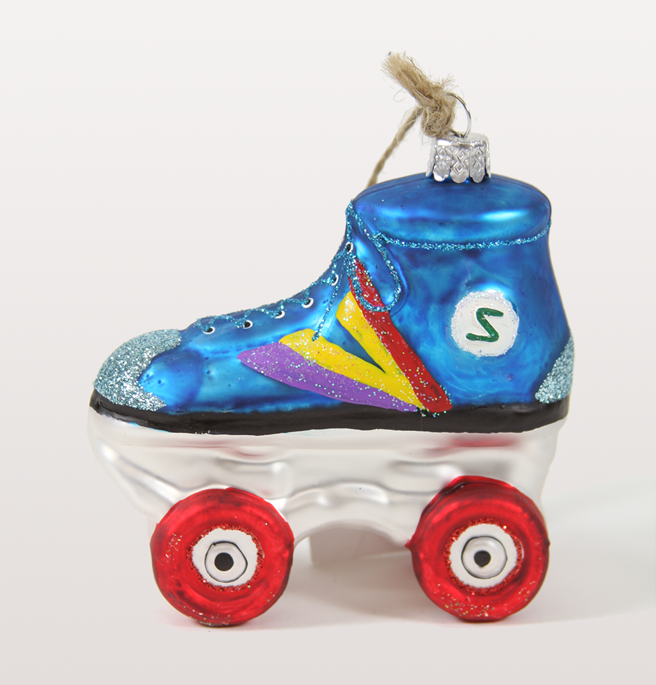 BLUE GLITTER ROLLERSKATE GLASS CHRISTMAS DECORATION