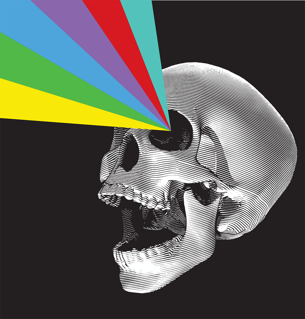 Dark gothic home skull and rainbow extra long matches