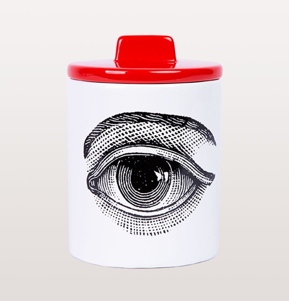 W.A.GREEN | KITSCH KITCHEN | The black and white eye design is set off against the lovely bright red lid. Medium sized storage jar. Perfect lidded jar in the kitchen for tea and coffee, in the bathroom for cotton wool pads or in the bedroom for hair bands, you'll love it.
