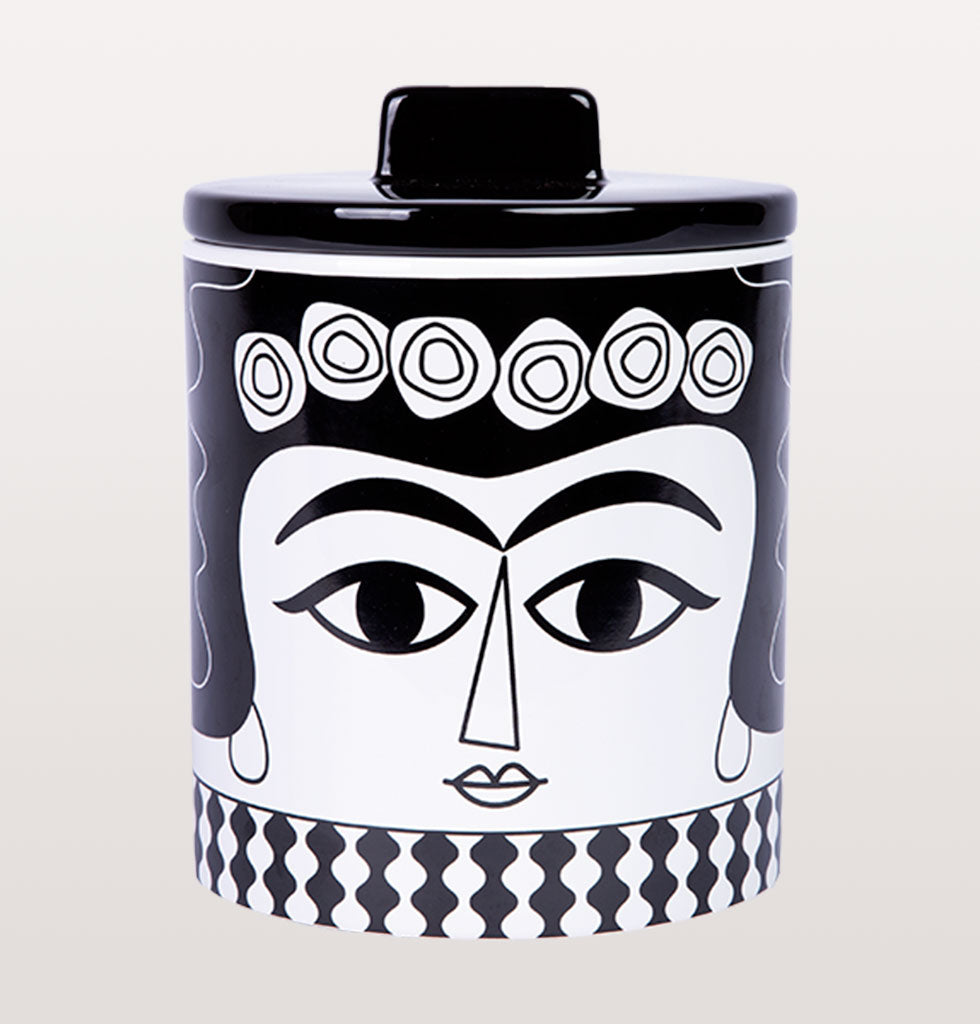 Kitsch Kitchen black and white Marisol design storage jar from wagreen.co.uk