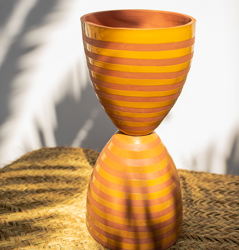 EGG TIMER PLANTER by TINA VAIA, GIANT TERRACOTTA POT YELLOW STRIPE