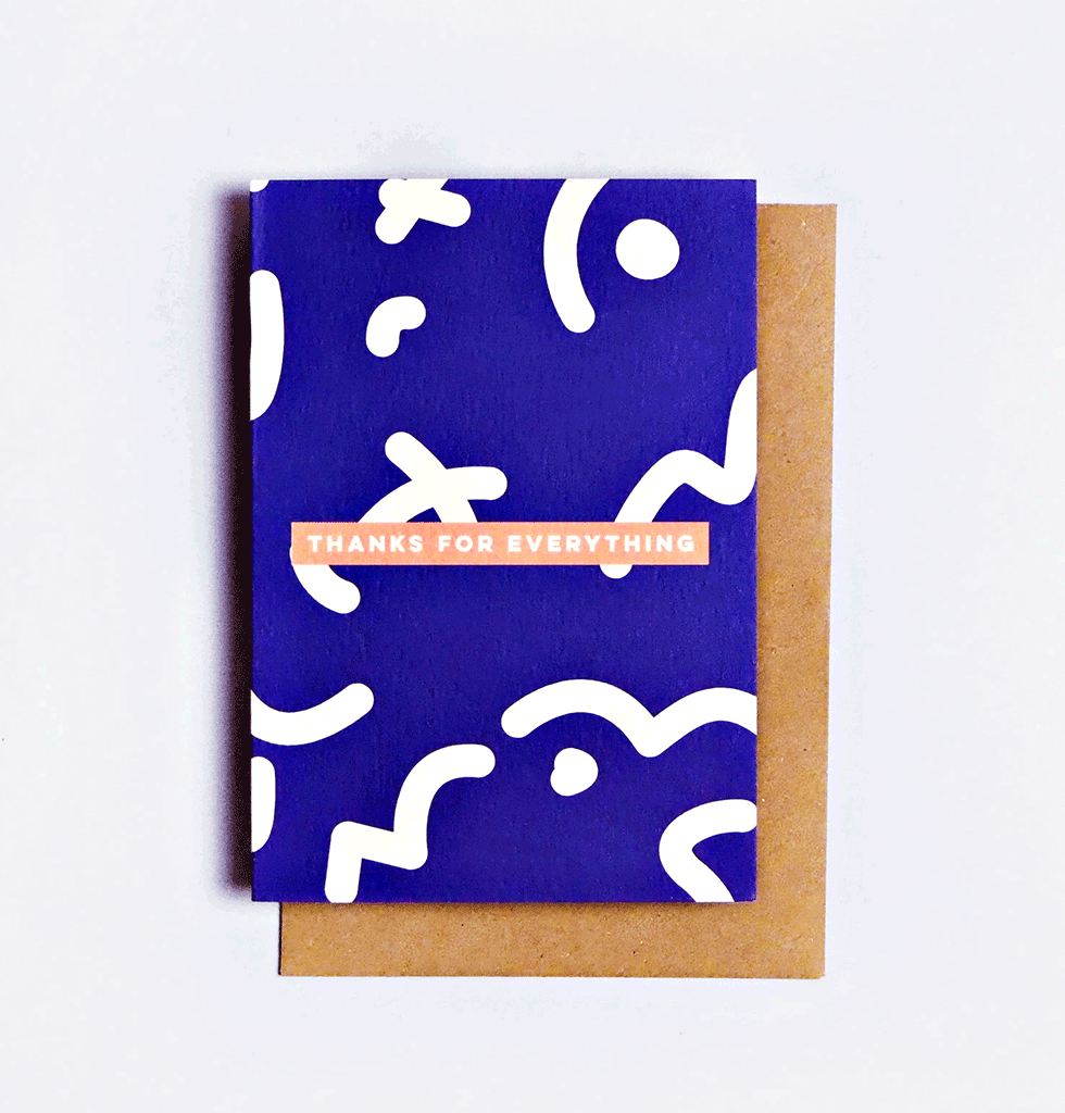 The Completist Thanks for everything greetings card Blue Squiggle