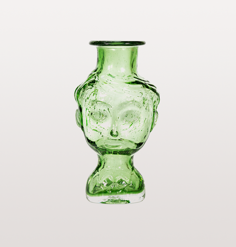 CARLOS GREEN GLASS HEAD VASE