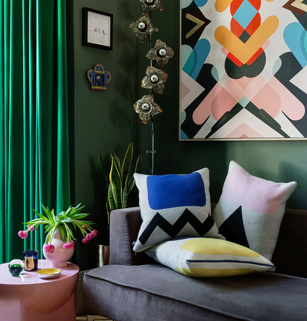 Maximalist interior with green and pink